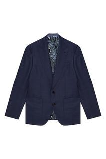 Шерстяной костюм-двойка синего цвета Etro