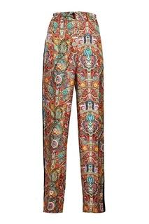 Шелковые брюки с принтом и лампасами Etro