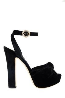 Бархатные босоножки с кристаллами Dolce & Gabbana