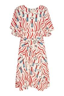 Шелковое платье с ярким принтом Valentino
