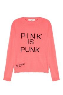 Розовый джемпер с надписью Valentino