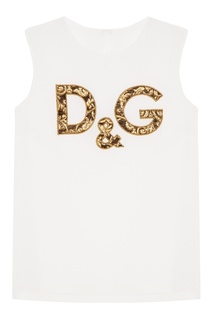 Шелковый топ с аппликацией Dolce & Gabbana