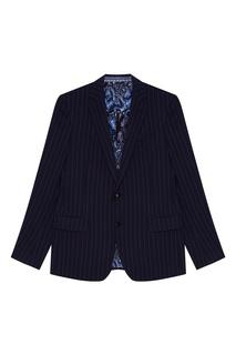 Синий шерстяной костюм-двойка Etro