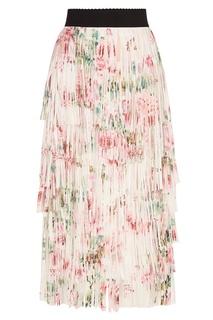Шелковая юбка с ярусной бахромой Dolce & Gabbana