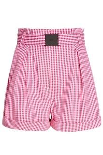 Хлопковые розовые шорты в клетку No.21