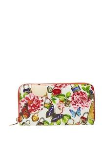 Кожаный кошелек с цветами и бабочками Dolce & Gabbana