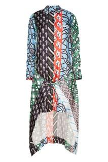 Шелковое платье со смешанными принтами Carven