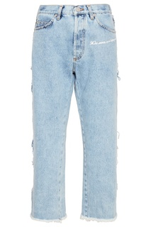Голубые джинсы с обрезанными краями Natasha Zinko