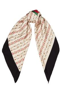 Шелковый шарф с цветочным принтом Gucci