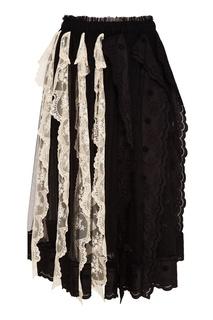 Кружевная юбка с контрастными деталями Simone Rocha