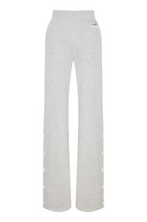Серые меланжевые брюки с логотипом Courreges