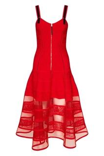 Красное платье на молнии Alexander Mc Queen