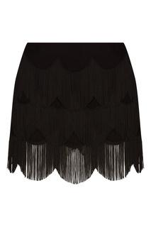 Черная юбка-мини с ярусной бахромой Marc Jacobs
