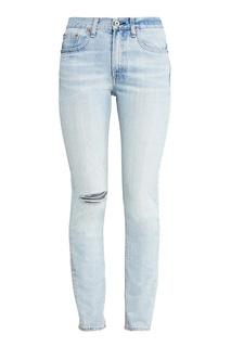Голубые джинсы с прорезью Rag&Bone