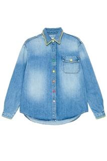 Джинсовая рубашка с разноцветными заклепками Mira Mikati