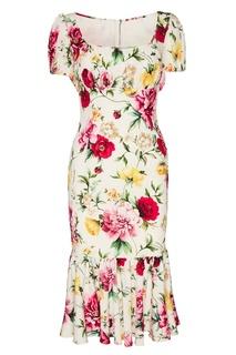 Платье-миди из шелка с цветами Dolce & Gabbana