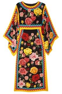Шелковое платье с розами Dolce & Gabbana