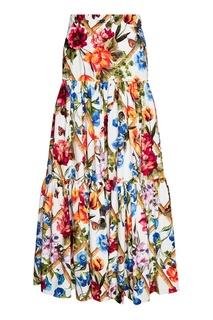 Хлопковая юбка-макси с цветочным принтом Dolce & Gabbana