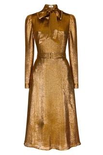 Золотистое платье с поясом Laroom