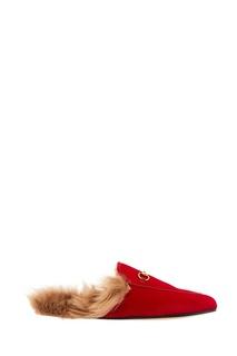 Красные бархатные слиперы Princetown Gucci