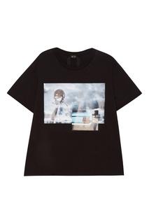 Черная футболка с принтом No.21