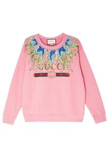 Хлопковый свитшот с кристаллами Gucci