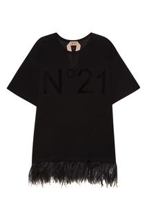 Удлиненная футболка с перьями No.21