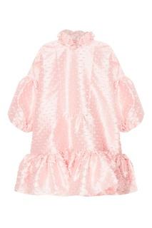 Розовое платье из текстурированной тафты Cecilie Bahnsen