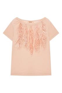 Розовая футболка с перьями No.21