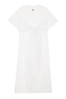 Хлопковое платье-макси с завязками Mm6 Maison Margiela