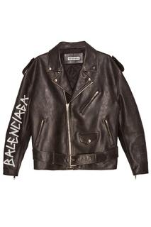 Черная кожаная куртка с логотипом Balenciaga