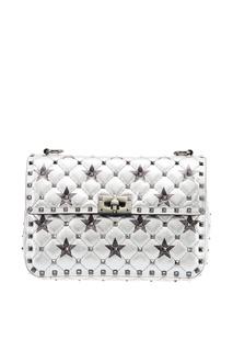 Серебристая сумка со звездами Rockstud Spike.It Valentino