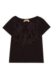 Черная футболка с перьями No.21
