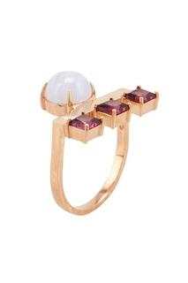Позолоченное кольцо с агатом и родолитами Moonka Studio