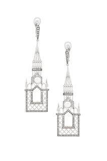 Серебряные серьги с жемчугом и голубыми топазами «Москва слезам не верит» Axenoff Jewellery