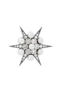 Серебряная брошь с жемчугом и бесцветными топазами «Звезда» Axenoff Jewellery