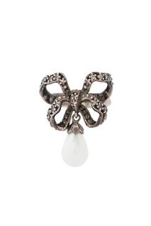 Серебряное кольцо с жемчугом и бесцветными топазами «Бантик» Axenoff Jewellery