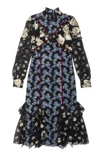 Жаккардовое платье с воланами Erdem
