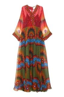 Платье-макси из шелка с принтом Valentino