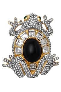 Брошь с кристаллами и кабошонами (80-е) Valentino Vintage