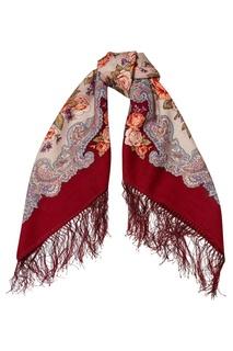 Бордовый платок с розами Павловопосадская Платочная Мануфактура