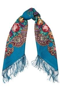 Бирюзовый платок с розами и завитками Павловопосадская Платочная Мануфактура