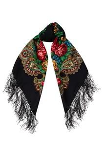 Черный платок с розами Павловопосадская Платочная Мануфактура