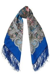 Синий платок с узорами Павловопосадская Платочная Мануфактура