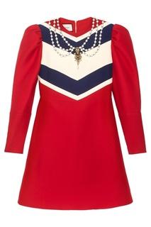 Платье из шерсти и шелка Gucci