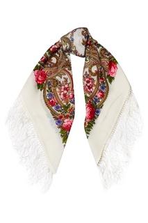 Белый платок с цветами Павловопосадская Платочная Мануфактура
