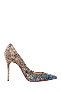 Замшевые туфли со стразами Decollete 554 100 Christian Louboutin