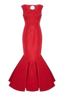 Красное платье-годе из шелка Zac Posen