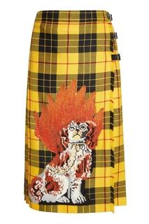 Шерстяная юбка-килт с вышивкой Gucci
