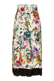 Шелковая юбка с принтом Gucci